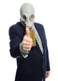 Hombre de negocios de la careta antigás Imagen de archivo libre de regalías
