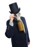 Hombre de negocios de la careta antigás Imagen de archivo