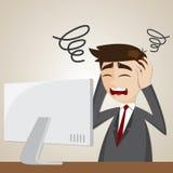 Hombre de negocios de la confusión de la historieta con el ordenador Imagen de archivo libre de regalías
