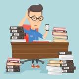 Hombre de negocios de la desesperación que trabaja en oficina stock de ilustración