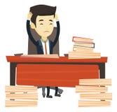 Hombre de negocios de la desesperación que trabaja en oficina libre illustration