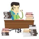 Hombre de negocios de la desesperación que trabaja en oficina ilustración del vector