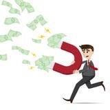 Hombre de negocios de la historieta con efectivo magnético del dinero ilustración del vector