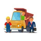 Hombre de negocios de la historieta con el conductor de camión y el constructor Characters Equipo de Consctruction Vector Fotos de archivo libres de regalías