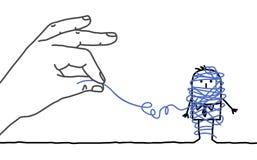 Hombre de negocios de la historieta - desenredando Imagen de archivo libre de regalías