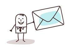 Hombre de negocios de la historieta que lleva a cabo un enveloppe del correo Imagen de archivo