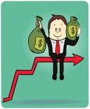 Hombre de negocios de la historieta que lleva el bolso del dinero encendido Imagen de archivo libre de regalías