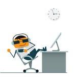 Hombre de negocios de la historieta que se relaja Café caliente de consumición música que escucha del auricular en el tiempo del  Imagen de archivo libre de regalías