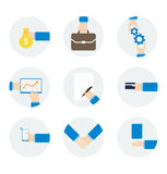 Hombre de negocios de la mano de los iconos con diversos objetos Imagenes de archivo