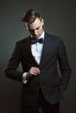 Hombre de negocios de la moda con el traje y la corbata de lazo imagenes de archivo