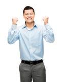 Hombre de negocios de la raza mixta que celebra el éxito aislado en el CCB blanco Fotografía de archivo libre de regalías