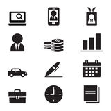 Hombre de negocios de la silueta y sistema del icono de las herramientas de la oficina Imagenes de archivo