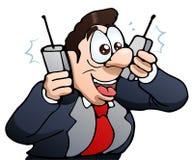 Hombre de negocios de llamada ocupado en blanco aislado Fotos de archivo libres de regalías