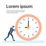 Hombre de negocios Deadline Time Concept del reloj del empuje del hombre de negocios Imagen de archivo