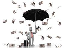 Hombre de negocios debajo de la lluvia del dólar Imagen de archivo