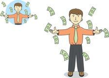 Hombre de negocios debajo del dinero que llueve que cae Fotos de archivo