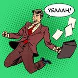 Hombre de negocios del éxito empresarial que grita con alegría stock de ilustración