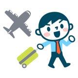 Hombre de negocios del aeroplano y de la sonrisa Imagenes de archivo