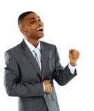 Hombre de negocios del afroamericano con el puño apretado Imagen de archivo libre de regalías