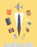 Hombre de negocios del ajuste del jet con los iconos Imagenes de archivo