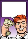 Hombre de negocios del arte pop con el dinero Foto de archivo libre de regalías