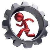 Hombre de negocios del carácter del hombre que corre la rueda dentada interior difícilmente Ilustración del Vector