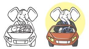 Hombre de negocios del elefante en el coche Imagen de archivo