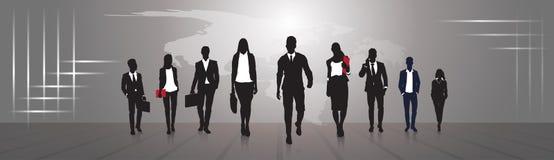 Hombre de negocios del grupo de los empresarios de la silueta y equipo de mujer libre illustration