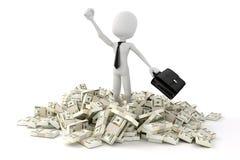 hombre de negocios del hombre 3d que se coloca en el medio de la pila de dinero Fotos de archivo