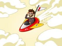 Hombre de negocios del inconformista que monta un cohete con la bandera del número uno ilustración del vector