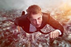 Hombre de negocios del super héroe Imágenes de archivo libres de regalías
