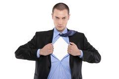 Hombre de negocios del super héroe que abre la camisa azul imágenes de archivo libres de regalías