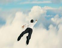 Hombre de negocios del superhéroe del vuelo Fotografía de archivo libre de regalías