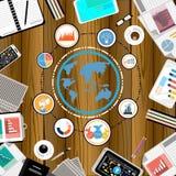 Hombre de negocios del vector con el contacto del espacio de trabajo por todo el mundo usando diseño plano móvil del uso de la te libre illustration