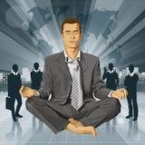 Hombre de negocios del vector en Lotus Pose Meditating Imagen de archivo
