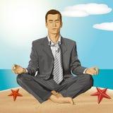 Hombre de negocios del vector en Lotus Pose Meditating ilustración del vector
