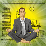 Hombre de negocios del vector en Lotus Pose Meditating Imagenes de archivo