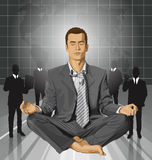Hombre de negocios del vector en Lotus Pose Meditating Imagen de archivo libre de regalías