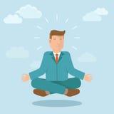 Hombre de negocios del vector que medita en estilo plano Imagen de archivo libre de regalías