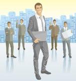 Hombre de negocios del vector y siluetas de hombres de negocios stock de ilustración