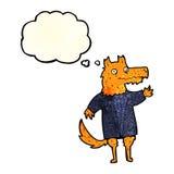 hombre de negocios del zorro de la historieta con la burbuja del pensamiento Imagenes de archivo