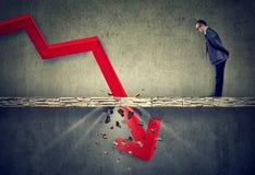 Hombre de negocios deprimido que mira abajo la flecha roja que cae que pasa a través de un piso concreto Imagen de archivo