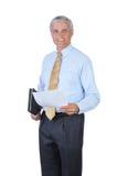 Hombre de negocios derecho con los papeles aislados foto de archivo