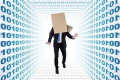 Hombre de negocios desorientado con números binarios Imagen de archivo libre de regalías