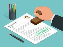Hombre de negocios disponible del sello aprobado y documento aprobado con el sello, pluma Ejemplo isométrico del vector libre illustration