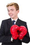Hombre de negocios divertido del boxeador Fotografía de archivo