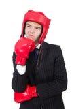 Hombre de negocios divertido del boxeador Imágenes de archivo libres de regalías