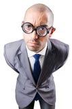 Hombre de negocios divertido del empollón Imagenes de archivo