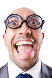 Hombre de negocios divertido del empollón Fotografía de archivo