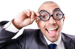 Hombre de negocios divertido del empollón Fotos de archivo libres de regalías